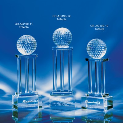 Trifecta Crystal 3 Column Golf Award 10