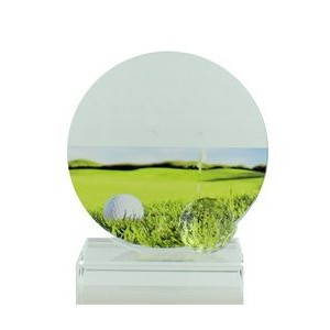 "4¼"" Glass Golf Trophy Award w/Ball & Color Printed Golf Image"