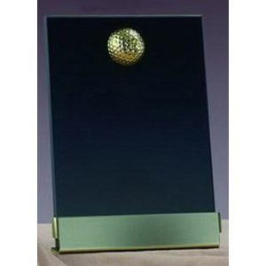 "Gold Golf Smoked Glass Plaque w/ Base (4""x6.5"")"