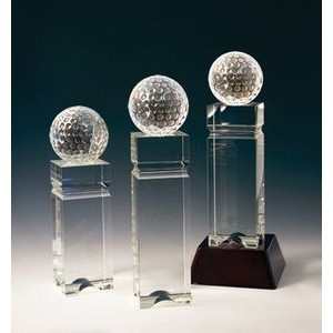 "Golf Tower Optical Crystal Award/Trophy 9""H"