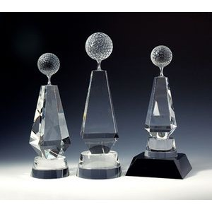 "Golf Tower Optical Crystal Award/Trophy 10""H"