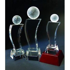 "Golf Tower Optical Crystal Award/Trophy 13.5""H"