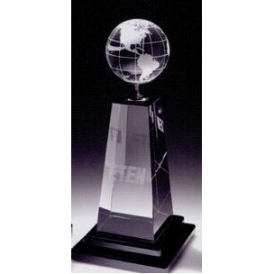 Globe/Golf Tower Crystal Award W/Black Glass