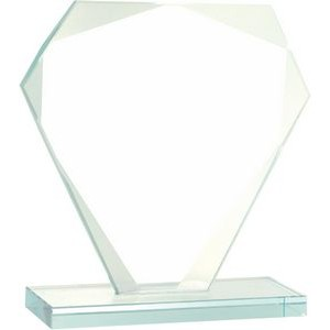 "5 1/2"" Cut Diamond Jade Glass Award"