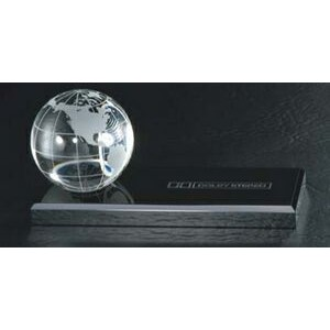 "2 3/8"" Crystal Ball w/ Black Glass Base"
