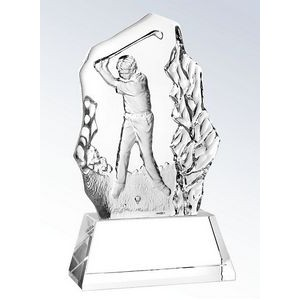 "Molten Glass Golfer on Crystal Base Swing Award, 6-7/8""H"