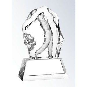 "Molten Glass Golfer on Crystal Base Action Award, 6-1/2""H"