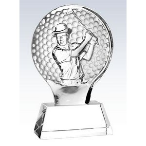 "Molten Glass Golfer on Crystal Base Champion Award, 8-1/2""H"
