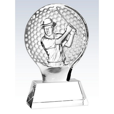 Molten Glass Golfer on Crystal Base Champion Award, 8-1/2