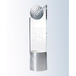 "Starphire Glass Golf Pinnacle on Aluminum Base Award (3""x10-1/2"")"