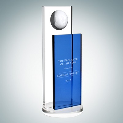 Blue Endeavor Globe Optical Crystal Award (Large)