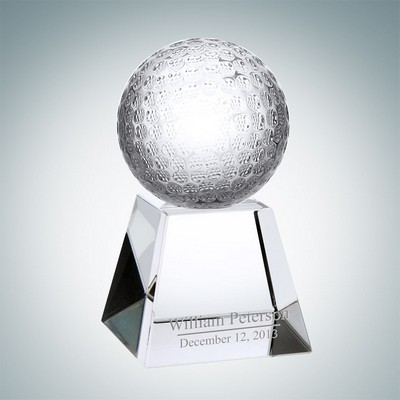 Golf Optical Crystal Award w/Short Base