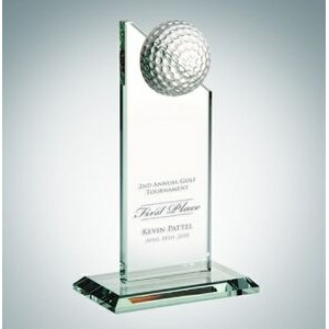 Golf Pinnacle Optical Crystal Award w/Slant Edge Base (Small)