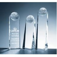 Optical Crystal Golf Ball Tower Award - Small