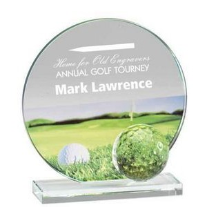 "Glass and Crystal Engraved Award with Golf Ball and Color Graphic - 5-3/4"" Tall"