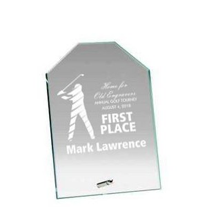 "Glass Engraved Award with Chiseled Top - 10"" Tall"