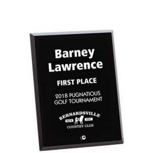 "Black Glass Engraved Award with Beveled Edge - 9"" Tall"
